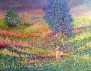 Momento di Pace (Moment of Peace) 1985 38x48 Super Huge Original Painting - Rino Li Causi