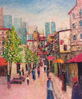 Street With World Trade Center 1970 24x18 Original Painting by Rino Li Causi