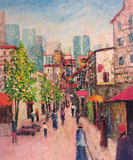 Street With World Trade Center 1970 24x18 Original Painting - Rino Li Causi