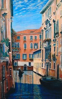 Venetian Waterway, Italy 84x52 Original Painting - Rita Ford Jones
