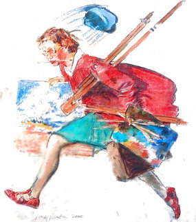 Untitled (Young Woman Running With Art Supplies) 2000 Limited Edition Print - Larry Rivers