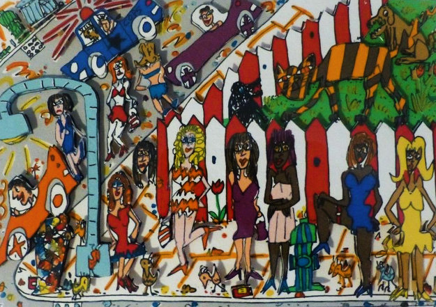 Hookers 3-D 1988 Limited Edition Print by James Rizzi