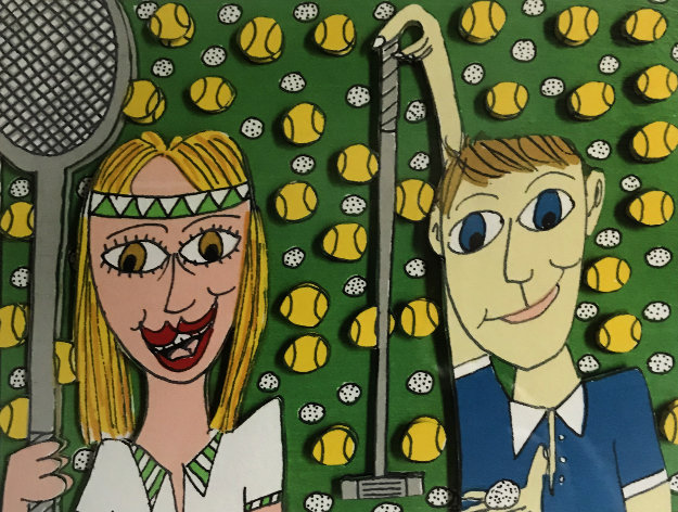 She Likes Tennis He Likes Golf 3-D 1997 Limited Edition Print by James Rizzi