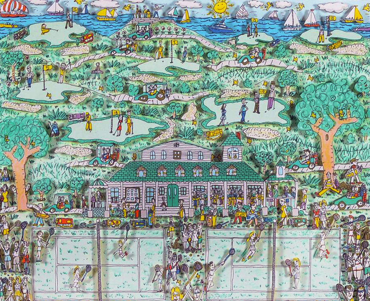 Lets All Meet At Daddy's Club (Tennis) 3-D 1995 Limited Edition Print by James Rizzi