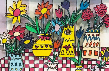 2 Pieces - Flowers For My Love And Lunch Break AP 3-D Limited Edition Print by James Rizzi
