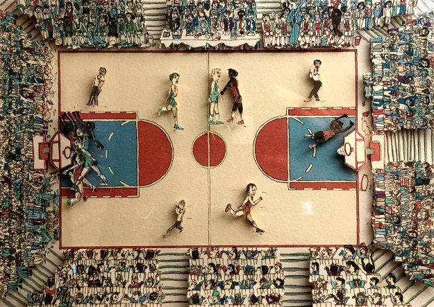 Basketball 1983 3-D Limited Edition Print by James Rizzi