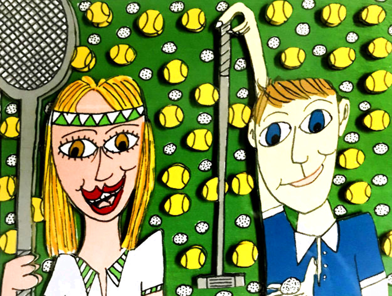 She Likes Tennis - He Likes Golf 1997 3-D Limited Edition Print by James Rizzi