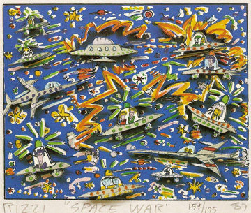 Space War 3-D 1987 Limited Edition Print - James Rizzi