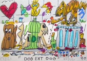 Dog Eat Dog 3-D 1990 Limited Edition Print by James Rizzi