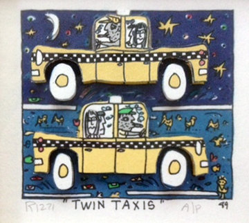 Twin Taxi AP 1989 Limited Edition Print by James Rizzi