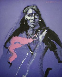 Indian in Shades of Violet 1979 48x36 Original Painting - Robin John Anderson