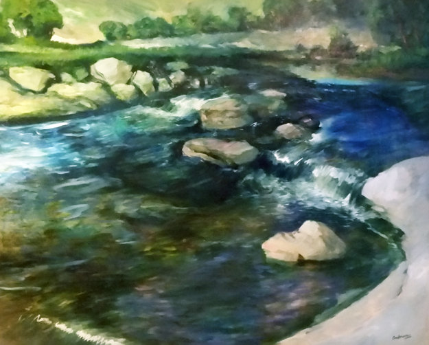Over the Falls 1996 48x60 Original Painting by Robin John Anderson