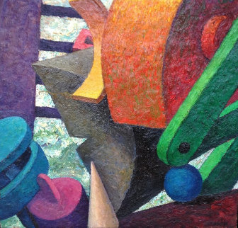 Piled Forms 1985 45x46 Original Painting - Robert Jessup