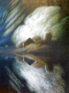 Night Reflection 40x20 Original Painting - Robert Kipniss