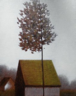 Solitary Poplar 19x17 Original Painting - Robert Kipniss