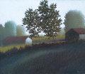 2 Trees 1989 21x19 Original Painting - Robert Kipniss