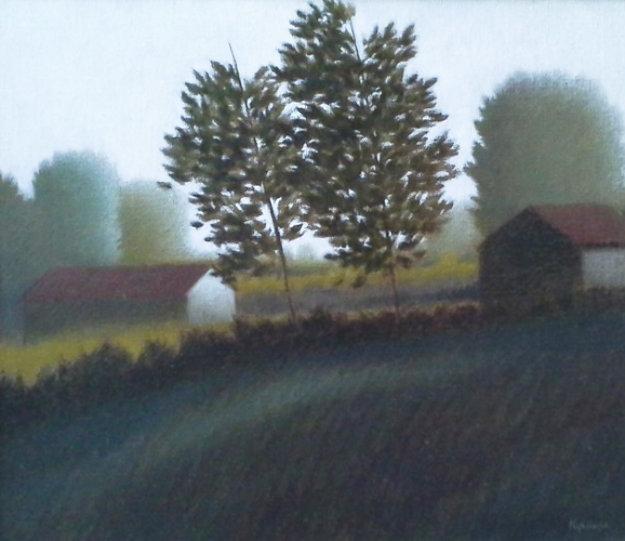 2 Trees 1989 21x19 Original Painting by Robert Kipniss