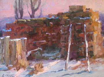 Winter Haystack 2001 16x20 Original Painting - Robert Moore