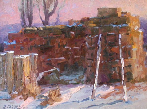 Winter Haystack 2001 16x20 Original Painting by Robert Moore