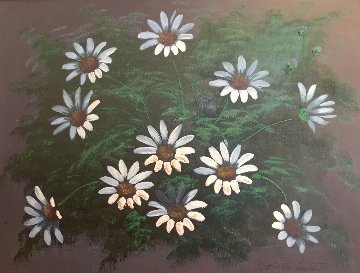 Untitled Floral 1960 24x20 Original Painting - Roberto Lupetti