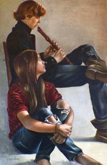 Untitled Music Painting  41x29  Huge Original Painting - Roberto Lupetti
