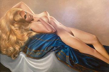 Reclining Beautiful Blonde 1969 32x44 Huge Original Painting - Roberto Lupetti