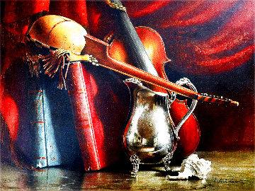 Untitled Still Life 1976 26x32 Original Painting - Roberto Lupetti
