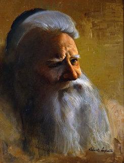 Untitled Portrait of Jewish Man 20x16 Original Painting - Roberto Lupetti
