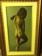 Untitled (Standing Nude Woman) 49x32 Original Painting by Roberto Lupetti - 1