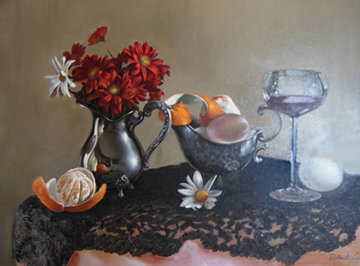 Untitled (Still Life) 30x40 Original Painting - Roberto Lupetti