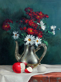 Untitled Still Life 30x24 Original Painting by Roberto Lupetti