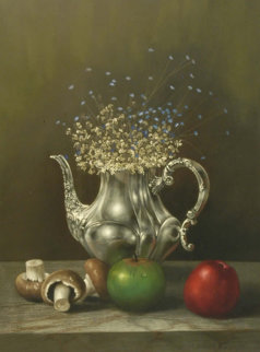 Still Life With Pitcher 32x28 Original Painting - Roberto Lupetti