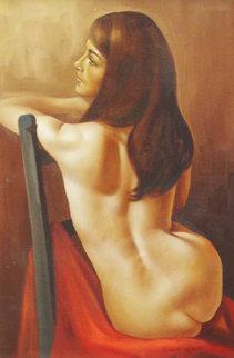 Sitting Nude 30x20 Original Painting - Roberto Lupetti