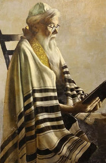 Rabbi Reading 35x23 Original Painting by Roberto Lupetti