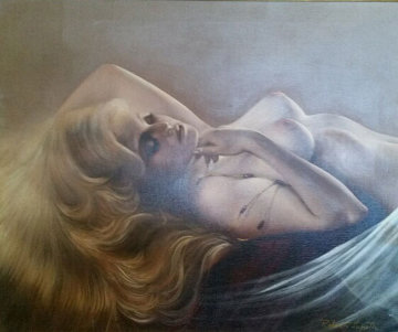 Reclining Blond  Nude By Pool 30x34 Original Painting - Roberto Lupetti