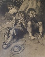 Tom Sawyer, First Smoke AP 1935 Limited Edition Print by Norman Rockwell - 1