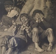 Tom Sawyer, First Smoke AP 1935 Limited Edition Print by Norman Rockwell - 2