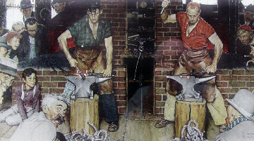 Horseshoe Forging Contest 1976 Limited Edition Print - Norman Rockwell