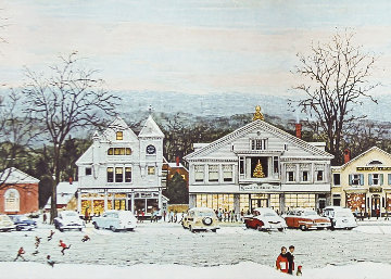 Stockbridge Main Street Christmas  1972 HS Limited Edition Print by Norman Rockwell