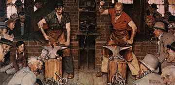 Horseshoe Forging Contest AP 1985 Limited Edition Print by Norman Rockwell