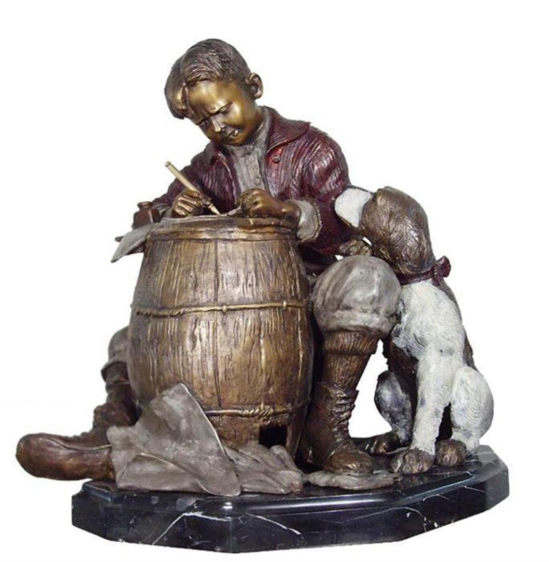 Pen Pals Bronze Sculpture 21 in Sculpture by Norman Rockwell