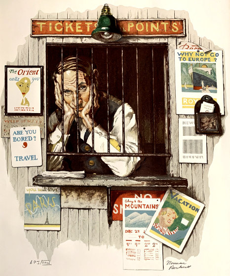 Ticket Seller AP 1976  by Norman Rockwell