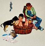 Lickin' Good Bath: Encore Edition  Limited Edition Print - Norman Rockwell