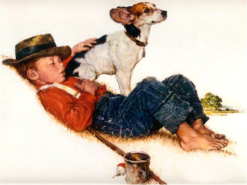 Boy and His Dog Limited Edition Print - Norman Rockwell