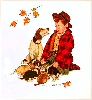 Puppy Love Suite (4 Pieces: Love Pat, Measure of Love, Love At First Sight, Love's Little Limited Edition Print - Norman Rockwell
