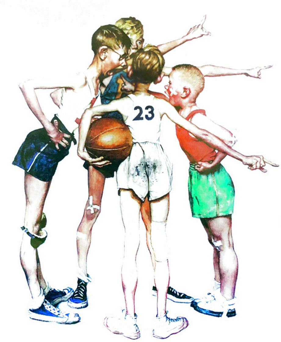 Four Sporting Boys: Basketball Limited Edition Print by Norman Rockwell