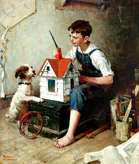 Painting the Little House 2011 Limited Edition Print - Norman Rockwell