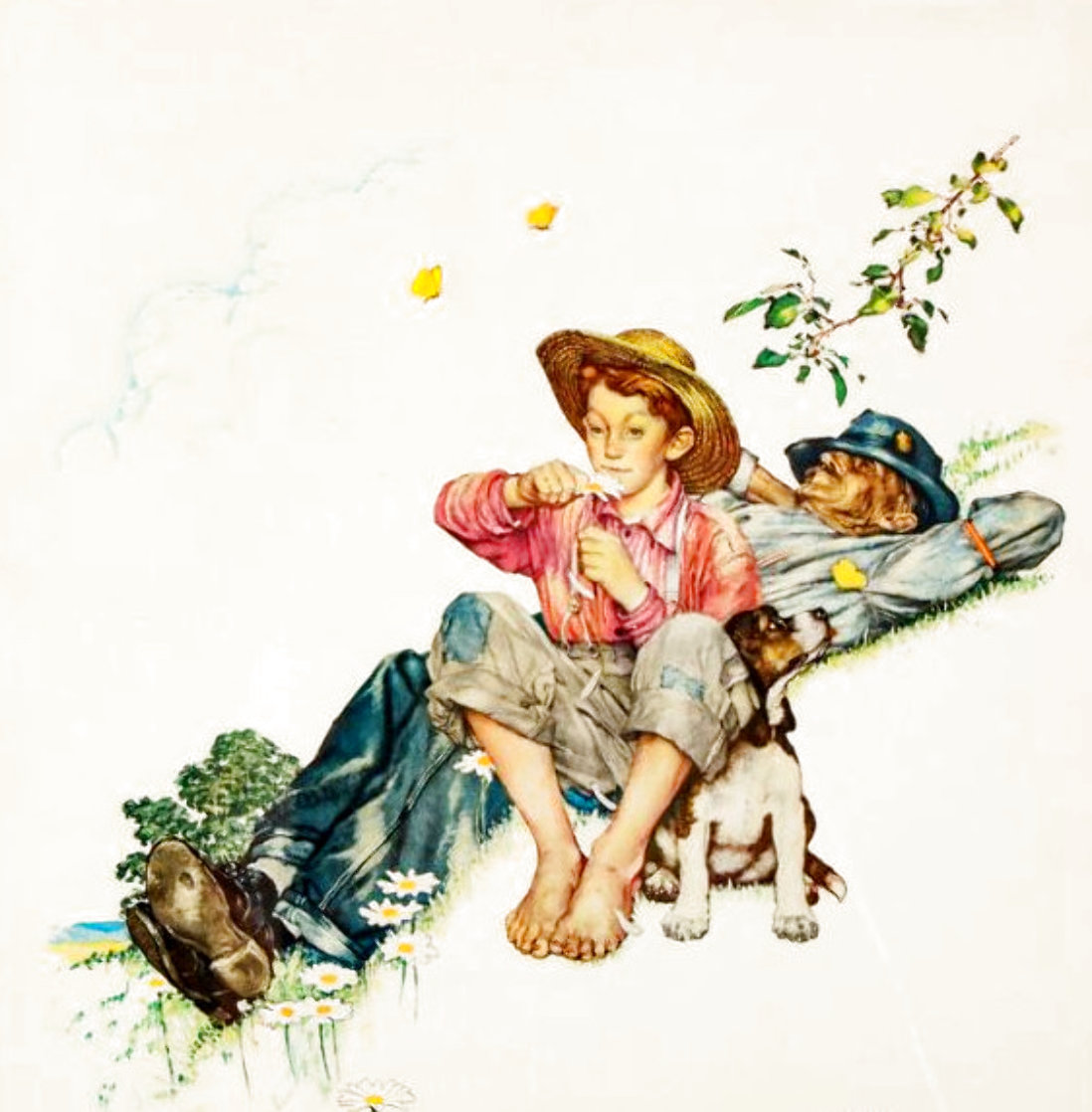 Grandpa and Me Suite: Picking Daisies AP 2012 Limited Edition Print by Norman Rockwell