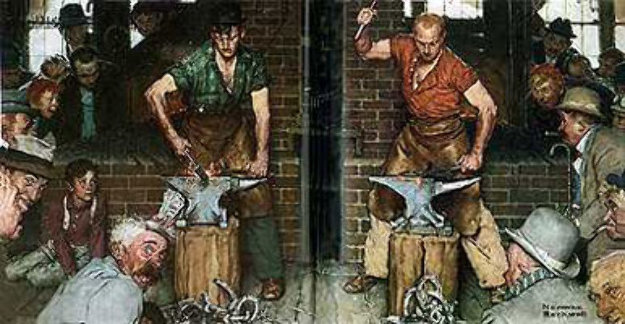 Horseshoe Forging Contest 1978 Limited Edition Print by Norman Rockwell