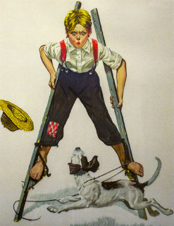 Boy on Stilts 1976 Limited Edition Print by Norman Rockwell